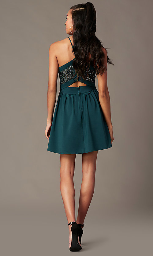 Image of short holiday party dress in spruce green. Style: EM-HNW-4285-387 Detail Image 2