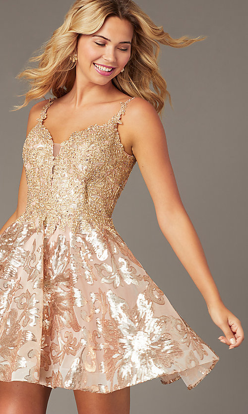 Image of short embroidered sequin hoco dress by PromGirl. Style: DJ-PL-A9102 Front Image