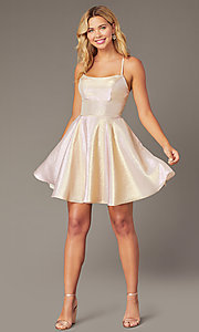 Image of iridescent short a-line hoco dress by PromGirl. Style: DJ-PL-A8992 Detail Image 1