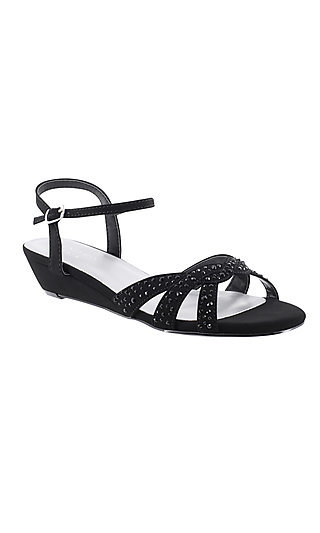 Black Open-Toe Shoe with a Short Heel by Touch Ups