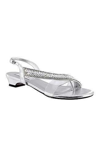 Silver Eleanor Sandal with a Short Heel