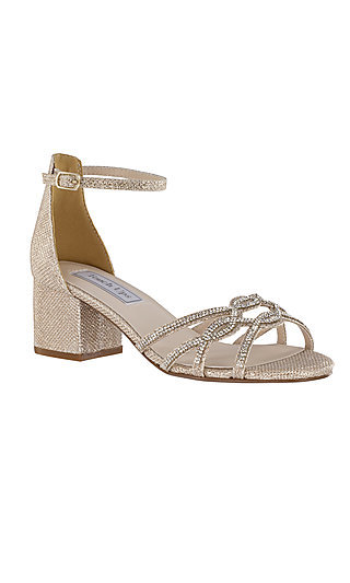 Zoey Champagne Gold Sandal with a Block Heel