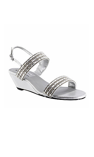 Silver Allison Wedge Sandal with Rhinestones