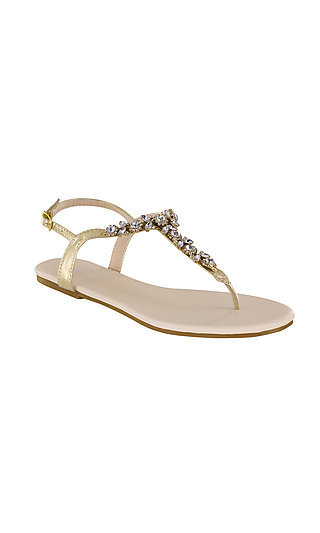 Gold Paula Thong Sandal with Rhinestones