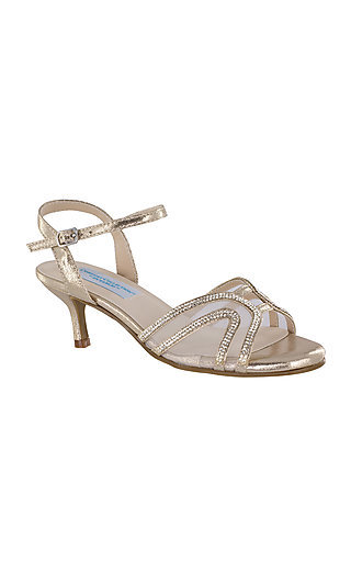 Champagne Gold Layla Shoe with a Short Heel