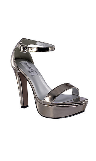High-Heeled Pewter Silver Mary Sandal