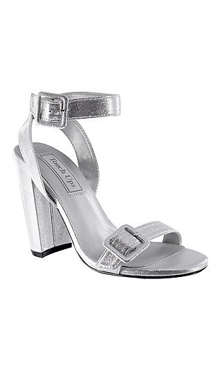 Metallic Silver Block-Heeled Calista Sandal