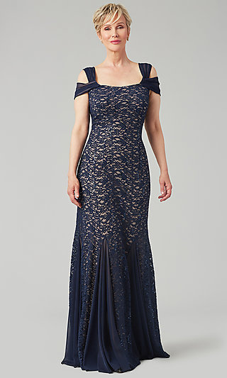 Navy Blue Lace Formal Mother-of-the-Bride Dress