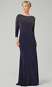 Image of navy floor-length beaded MOB gown with 3/4 sleeves. Style: AX-81351474 Front Image