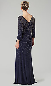 Image of navy floor-length beaded MOB gown with 3/4 sleeves. Style: AX-81351474 Back Image