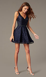 Image of short navy lace fit-and-flare homecoming dress. Style: NC-237 Front Image