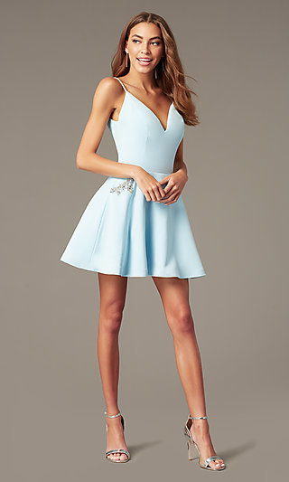 Short Satin Homecoming Dress with Accented Pockets