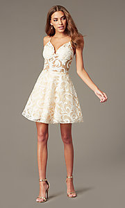 Image of short embroidered ivory babydoll homecoming dress. Style: NC-265 Detail Image 1