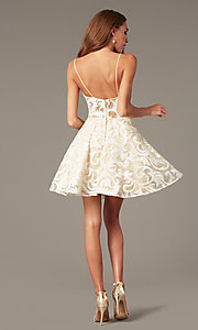 Image of short embroidered ivory babydoll homecoming dress. Style: NC-265 Detail Image 2