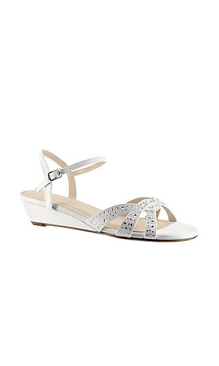 Short-Heeled Lena Wedge Sandal in White