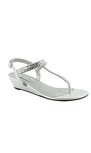 Silver Kendra Thong Sandal with Mirror Details