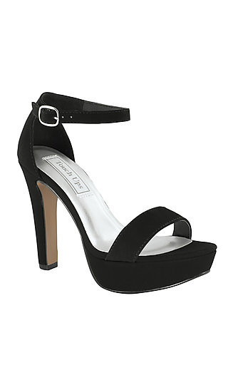 Black Imitation Suede Mary Sandal with a High Heel