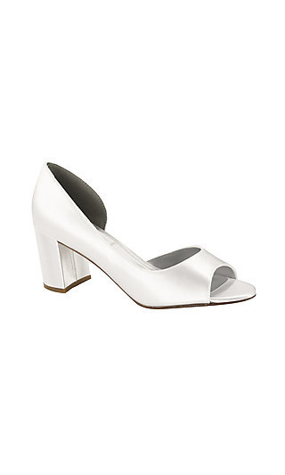 White Joy Peep-Toe Pump with Block Heels