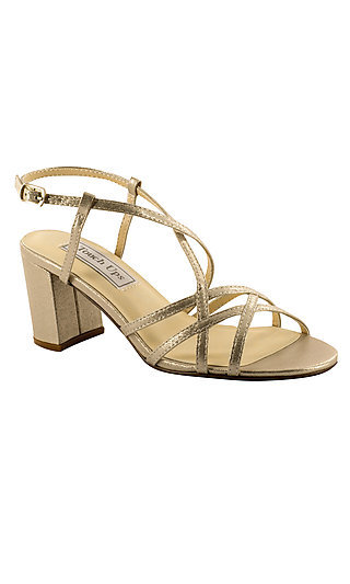 Champagne Gold Eva Sandal with a Block Heel
