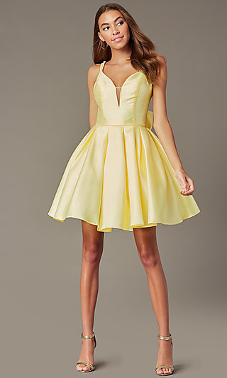 Short Yellow Homecoming Dress with Detachable Bow