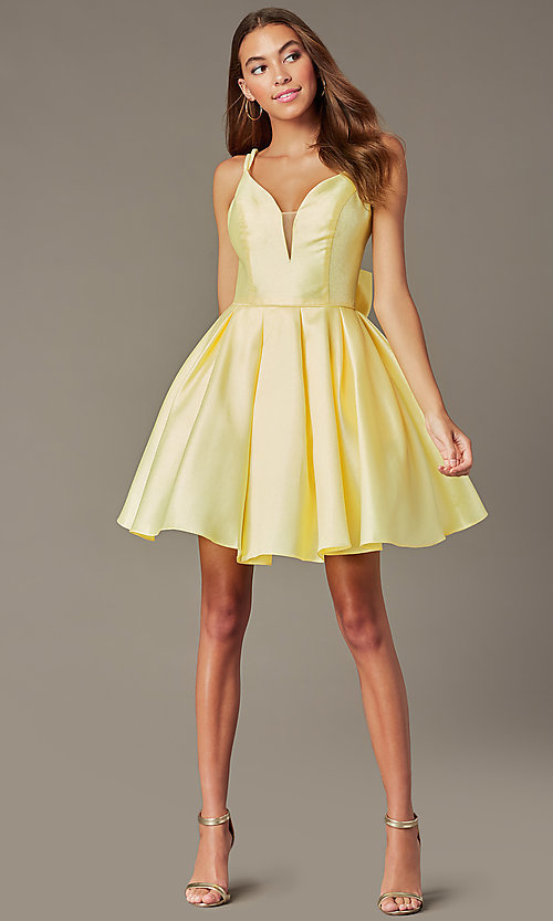 Image of short yellow homecoming dress with detachable bow. Style: JT-827 Front Image