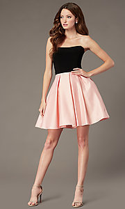 Image of pink and black strapless a-line homecoming dress. Style: JT-829 Detail Image 1