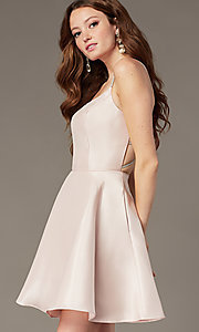 Image of short homecoming dress with rhinestone straps. Style: JT-836 Front Image