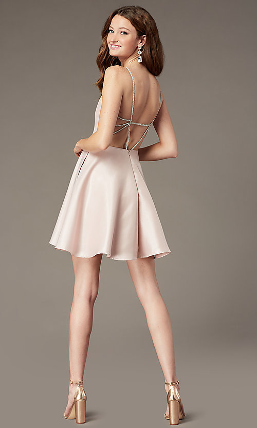 Image of short homecoming dress with rhinestone straps. Style: JT-836 Detail Image 2