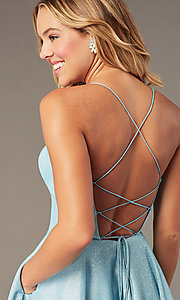 Image of short glitter corset homecoming dress with pockets. Style: PO-8220 Detail Image 4