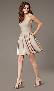 Image of short glitter corset homecoming dress with pockets. Style: PO-8220 Detail Image 1