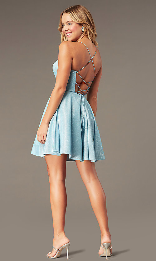 Image of short glitter corset homecoming dress with pockets. Style: PO-8220 Detail Image 3