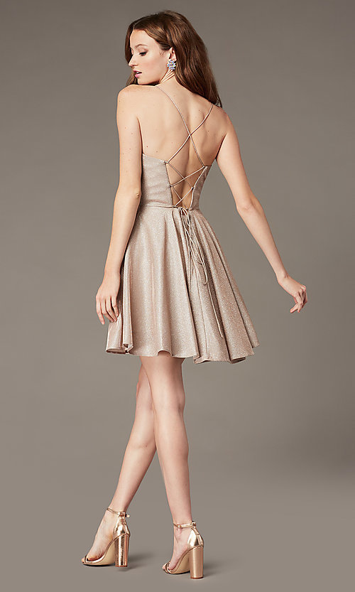 Image of short glitter corset homecoming dress with pockets. Style: PO-8220 Back Image