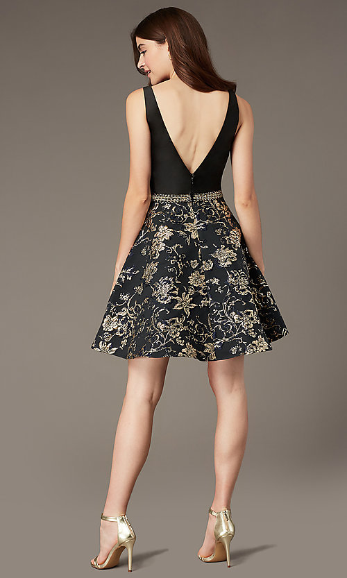 Image of short a-line jacquard-print v-neck hoco dress. Style: PO-8404 Back Image