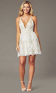 Image of embroidered-mesh short ivory homecoming dress. Style: LP-25779 Front Image