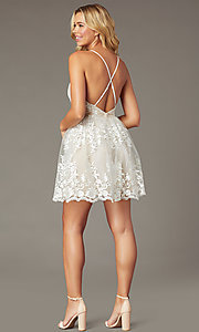 Image of embroidered-mesh short ivory homecoming dress. Style: LP-25779 Back Image