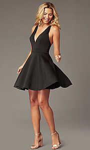 Image of short a-line fit-and-flare v-neck party dress. Style: LP-26429 Front Image