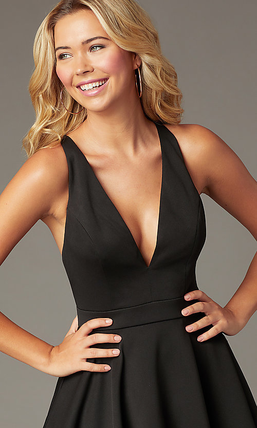 Image of short a-line fit-and-flare v-neck party dress. Style: LP-26429 Detail Image 1