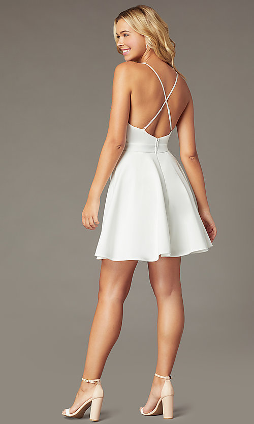 Image of short a-line fit-and-flare v-neck party dress. Style: LP-26429 Detail Image 6