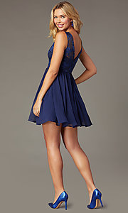 Image of a-line short homecoming dress with embroidery. Style: LP-27788 Back Image