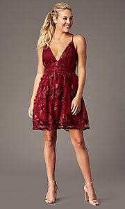 Image of short v-neck homecoming dress with ribbon applique. Style: LP-26506 Detail Image 7