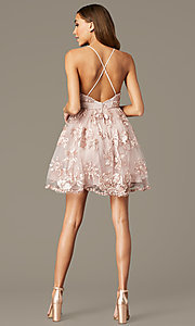 Image of short v-neck homecoming dress with ribbon applique. Style: LP-26506 Back Image