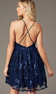Image of short v-neck homecoming dress with ribbon applique. Style: LP-26506 Detail Image 3