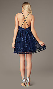 Image of short v-neck homecoming dress with ribbon applique. Style: LP-26506 Detail Image 6