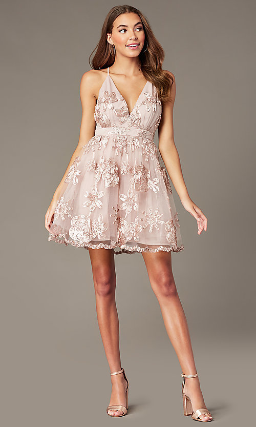 Image of short v-neck homecoming dress with ribbon applique. Style: LP-26506 Front Image