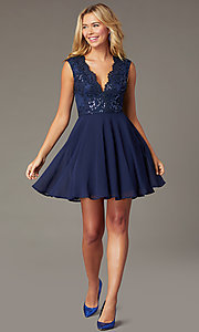 Image of scalloped v-neck short hoco dress with embroidery. Style: LP-27826 Detail Image 1