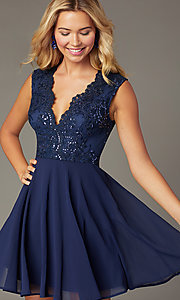 Image of scalloped v-neck short hoco dress with embroidery. Style: LP-27826 Front Image