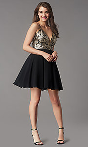 Image of sequin-bodice short v-neck hoco dress by PromGirl. Style: LP-PL-26555 Detail Image 1