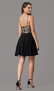 Image of sequin-bodice short v-neck hoco dress by PromGirl. Style: LP-PL-26555 Back Image