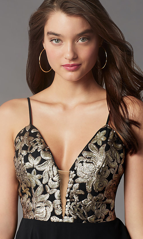 Image of sequin-bodice short v-neck hoco dress by PromGirl. Style: LP-PL-26555 Detail Image 2
