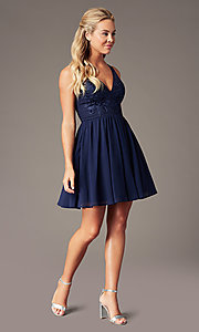 Image of short navy chiffon v-neck hoco dress by PromGirl. Style: LP-PL-28042 Detail Image 1